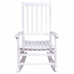 Outstanding Details About White Wood Rocking Chair Porch Outdoor Patio Furniture Wide Seat Antique Style Bralicious Painted Fabric Chair Ideas Braliciousco