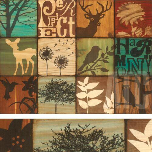 "32W/""x24H/"" WALNUT CREEK by SUZANNA ANNA DEER BIRDS 12-PATCH WILDERNESS CANVAS"