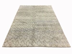 6X9-Gray-Moroccan-Area-Rug-Hand-Knotted-Oriental-Wool-Carpet-6-2-x-8-9