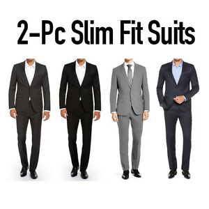 Mens Slim Fit Suit Two Button Modern Style Montato Dual Vent Slim ...