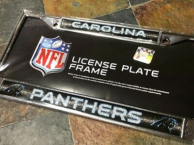 NFL Carolina Panthers Bling Chrome License Plate Frame with Glitter Accent
