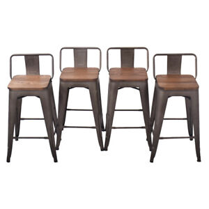 Remarkable Details About Metal Steel 24 Bar Stool Set Of 4 Low Back Wooden Seat Counter Chair Rusty Squirreltailoven Fun Painted Chair Ideas Images Squirreltailovenorg