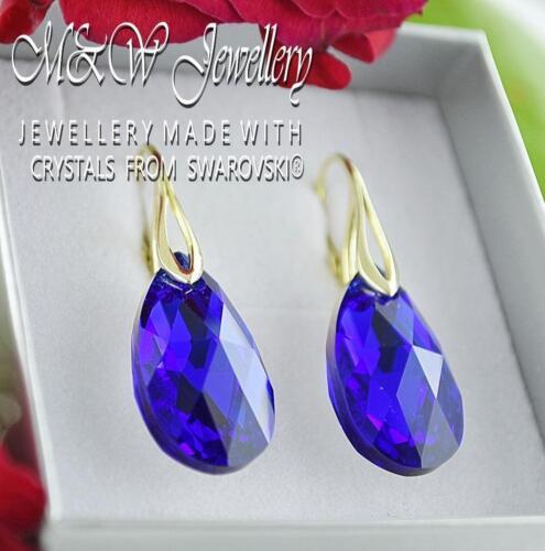 Pendientes de oro Pl.925 Plata Cristales de Swarovski ® Pera//Almendra Majestic Azul