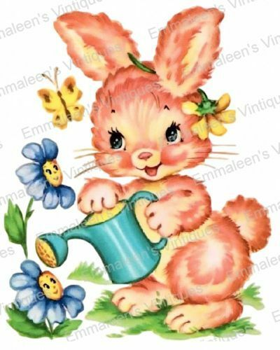 Vintage Image Shabby Nursery Gardening Bunny Waterslide Decals AN512