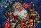 Dimensions Gold Collection Petite Nighttime Santa Counted Cross Stitch 25cm X