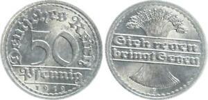 Empire 50 Pfennig J.301 1919 E Seltenes Year/Mintmark Prfr St (3)