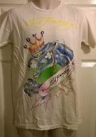 Herren Ed Hardy Creme Weiß 100% Baumwolle T-shirt Größe Medium Large, Neu