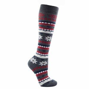 1 Pair Ladies Foxbury Charcoal Fair-isle Knee High Thermal Cotton Sock, Size 4-7