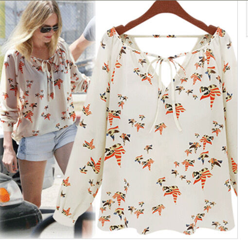 Womens Summer Casual Chiffon Birds Printing V-Neck Tops Long Sleeve Shirt Blouse