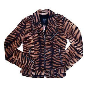 Tripp-NYC-Gothic-Punk-80s-Glam-Rock-Tiger-Print-Womens-Moto-Motorcycle-Jacket-M