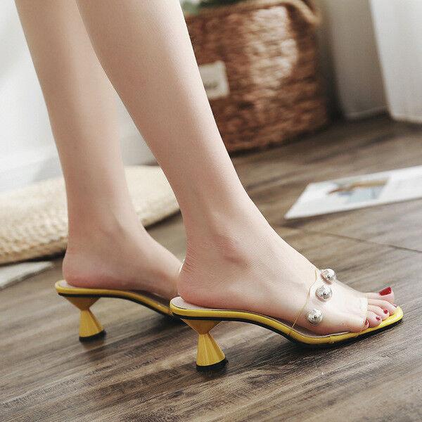 Sandales femmes chaussons talon carré jaune élégant talon 5 cm confortable 1104