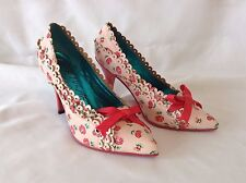 Irregular Choice BLYTHE Pink Roses Punched Leather Heels Lolita Shoes 36 Red Hot