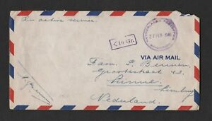 NETHERLANDS POSTOFFICE SINGAPORE 1946 airmail cover to Linne Holland - Nunspeet, Nederland - See scan Over 60 we only send registered.Europe 11 Rest World 16 - Nunspeet, Nederland