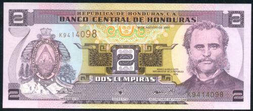 HONDURAS  2  LEMPIRAS  2001  P 80A  LOT 2  PCS  Uncirculated Banknotes
