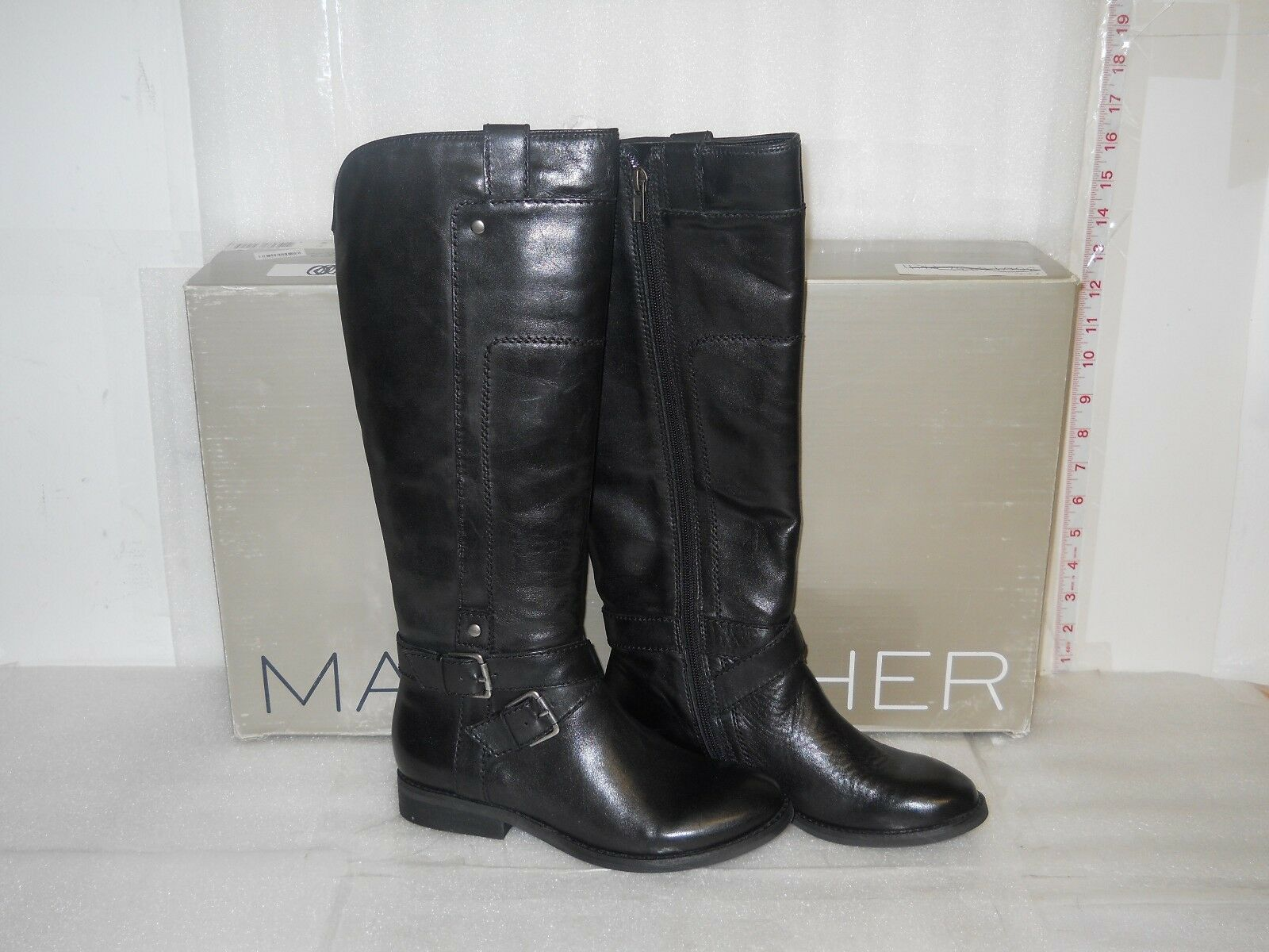 Marc Fisher New Womens Artful Black Leather boots 5.5 M Shoes NWB