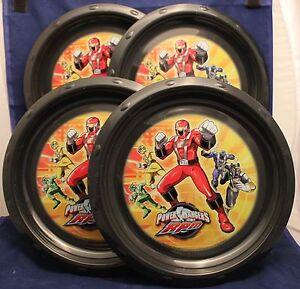 "4-SET POWER RANGERS PLASTIC PLATES Kids Child Boys Fun Ninja 9"" Movie RPM NEW"