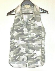 Anthropologie-Camouflage-Button-Up-Cloth-amp-Stone-XS-Blouse-Top-Sleeveless-Women