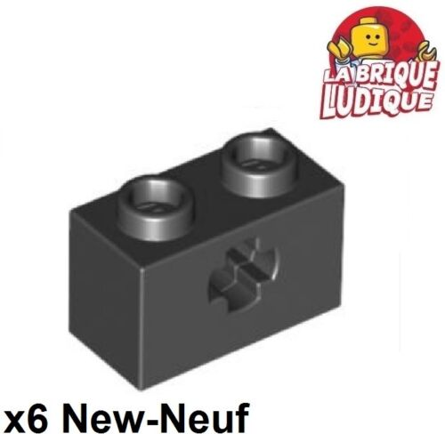 Lego Technic - 6x Brique Brick 1x2 Axle hole trou axe noir/black 32064 NEUF