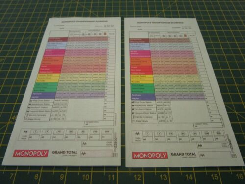 Original Board Game 20 SCORE SHEETS From Various Editions Spare Replacements