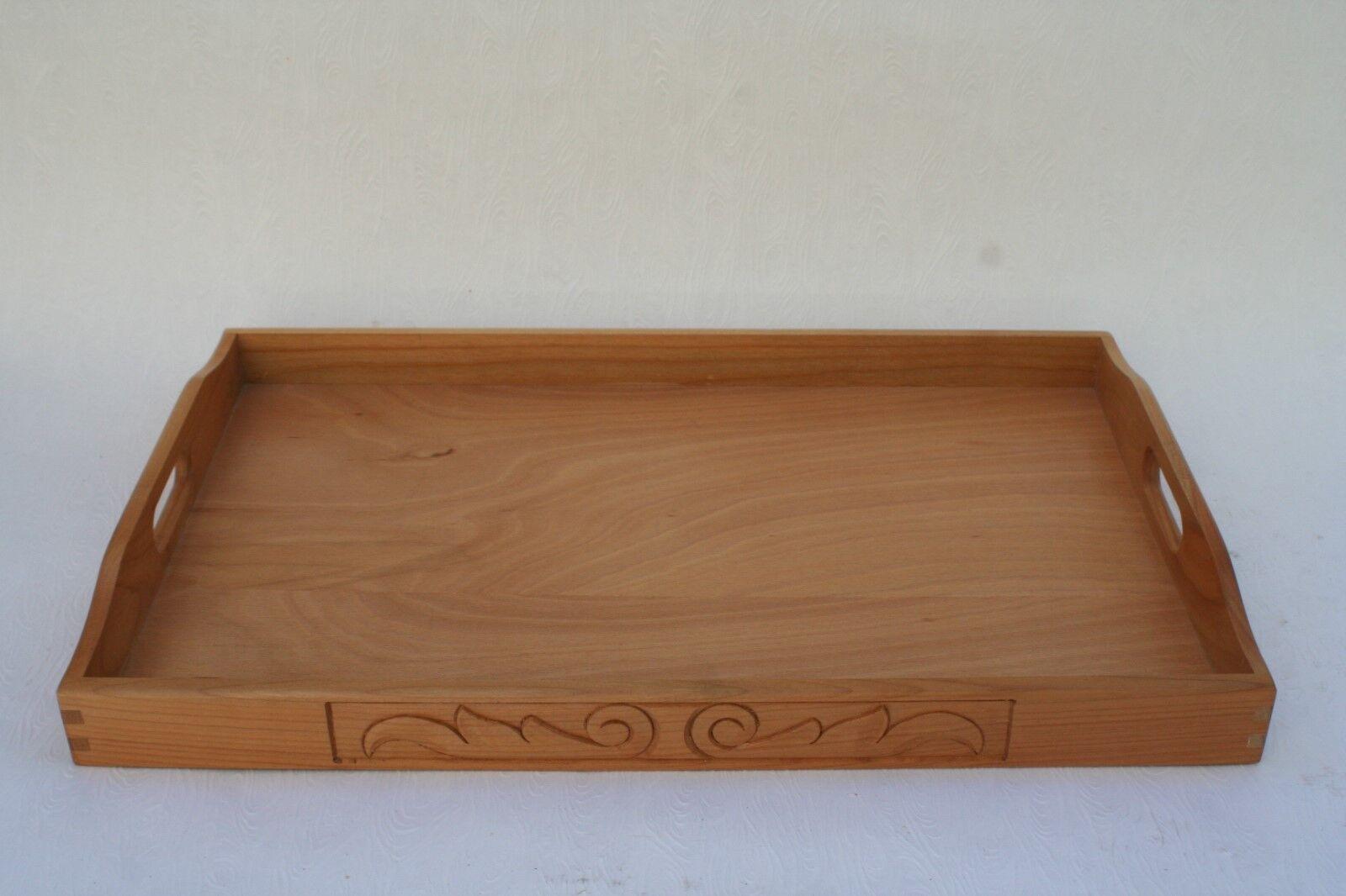 Serviertablett Holztablett Servierplatte Tablett Holz geschnitzt Kirschbaum