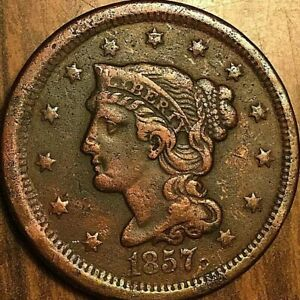 1857-US-LARGE-CENT-BRAIDED-HAIR-UNITED-STATES-PENNY-COIN