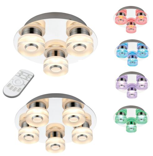 3 or 5 Light LED Bathroom Ceiling Colour Changing RGB Lamp IP44 Chrome Remote