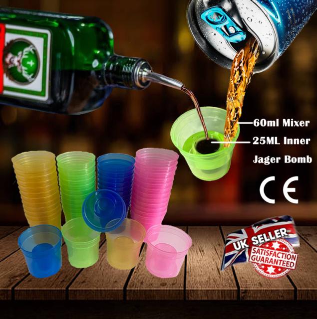 PACK OF 50 QUAFFER SHOT PLASTIC GLASS LIKE JAGERBOMB JAGER SLAMMER BOMB QUAFFERS