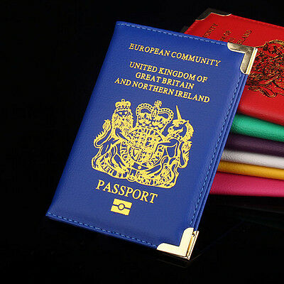 New Fashion British UK Passport Holder Protector Cover Wallet PU Leather Cover