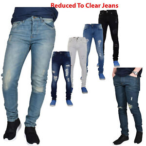 5547b29bac5 True Face Mens Jeans Ripped Super Skinny Slim Stretch Cotton Denim ...