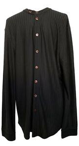 ARMANI-COLLEZIONI-MEN-039-S-BLACK-LONG-SLEEVE-SILK-DRESS-SHIRT-XL-785