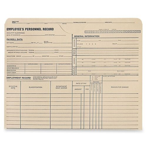 """9.50/"""" X 11.75/"""" Quality Park Employee/'s Personnel Record Jacket 11 Pt."""