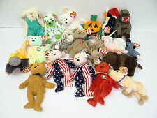 Vintage Lot Plush Toys 1998-2001 Beanie Baby TY Holiday Pumkin Roam Clover Halo