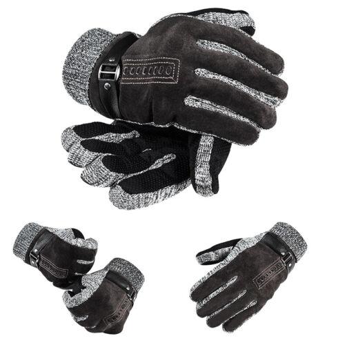 Men Gift!Fashion Winter Driving Warm Knitting Suede Fabric /& Wool Thicken Gloves