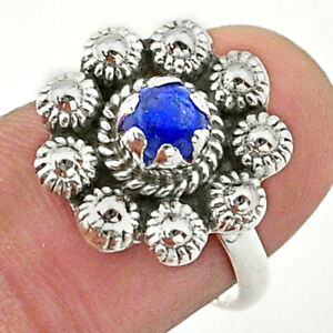 0.87cts Solitaire Natural Blue Lapis Lazuli 925 Silver Flower Ring Size 7 T40695