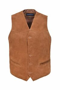 Tan Classic Waistcoat Design Suede Party Fashion Leather Mens Aussie Genuine 06wxBqBT
