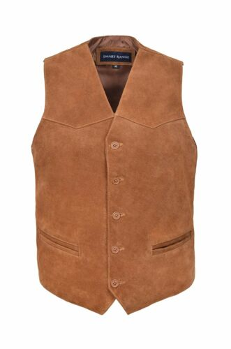 MENS PARTY WAISTCOAT TAN GENUINE SUEDE LEATHER  FASHION CLASSIC DESIGN AUSSIE