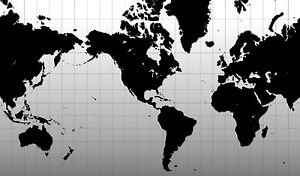 Poster Black White Graph Map Of The World Picture Atlas Globe - Map of the world poster black and white