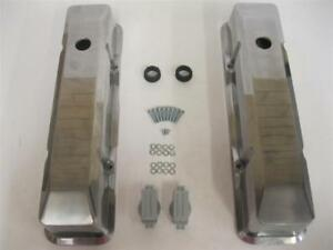 Small-Block-Chevy-Tall-Smooth-Polished-Aluminum-Valve-Covers-SBC-305-350-Vintage