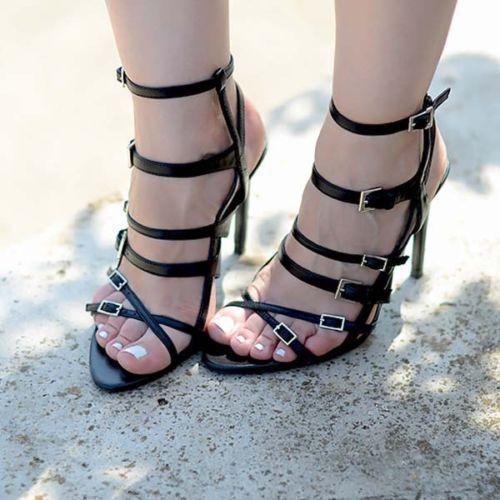ZARA  RARE noir LEATHER STRAPPY SANDALS HIGH HEELS chaussures  UK3 EU36 USA6