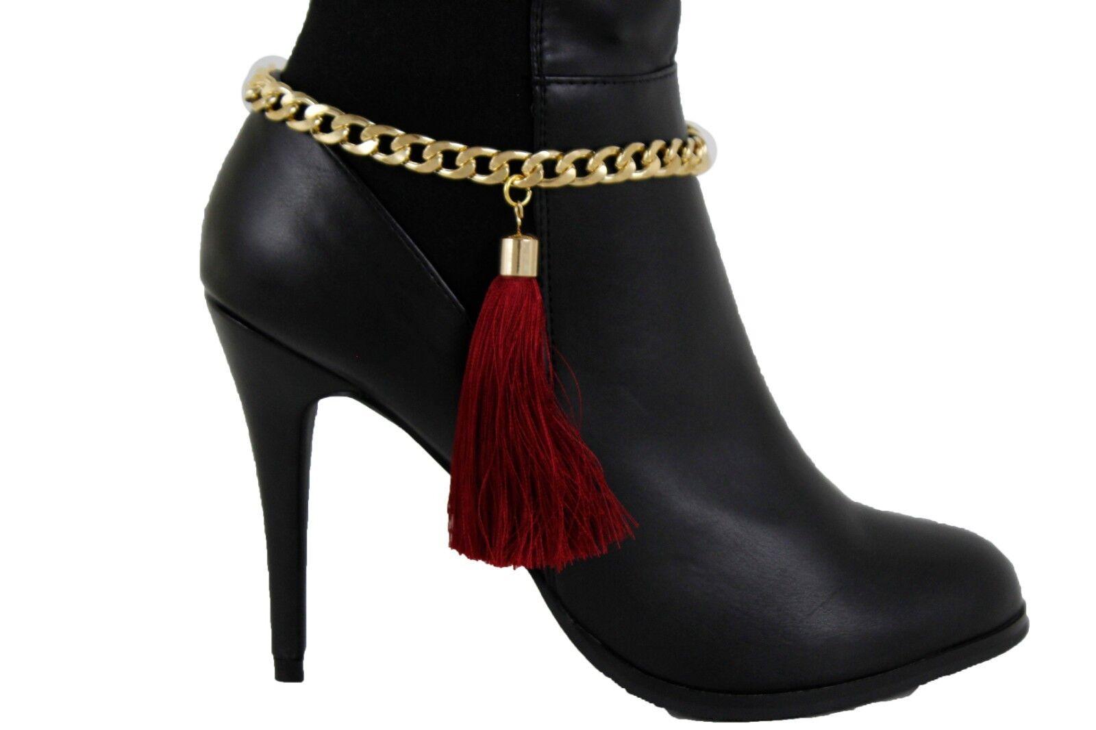 Women Gold Chain Boot Bracelet Anklet Shoe Charm Bling Jewelry Dark Red Tassel