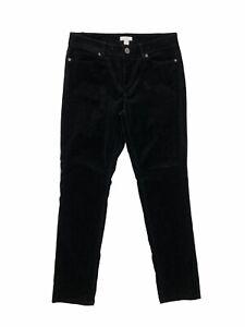 J. JILL Black Velvet Mid-Rise Straight Leg Pants Women's Size 4