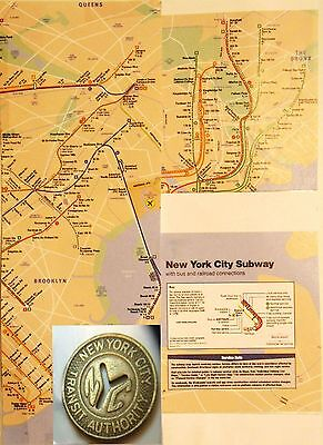 New York City Subway Token framed with map-IN A NEW YORK MINUTE! lot chopin