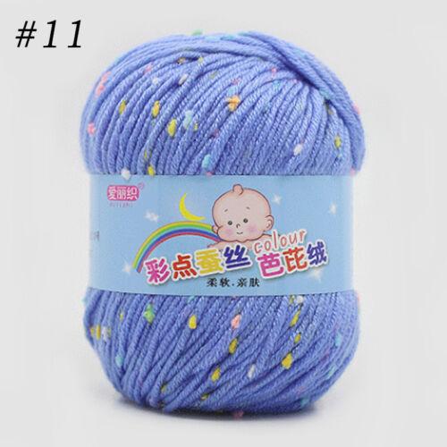 50G Kids Yarn Ball Soft Cashmere Baby Natural Smooth Dot Wool Line Knitting Hot