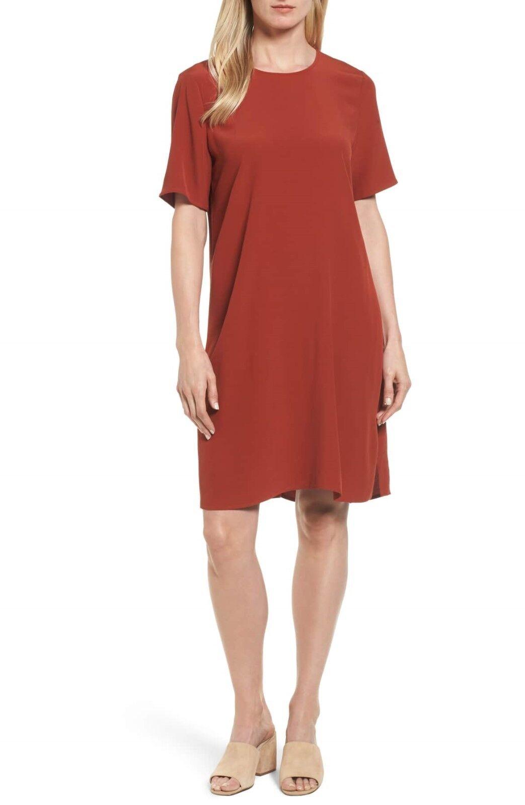 NEW Eileen Fisher Tencel Lyocell Blend Jersey Shift Dress in Autumn - Size XS