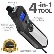 Digital Tire Pressure Gauge Car Bike Meter Flashlight Air Release Inflator Tread