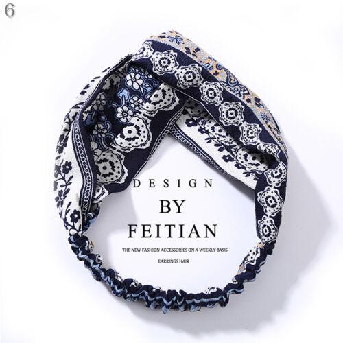 Women Girl Turban Stripe Elastic Head Wrap Headband Twisted Knotted Spa Hairband