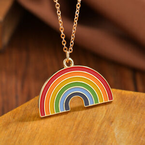 MultiI Coloured Rainbow Pendant Necklace In Gift Bag Gold EnamelL Hope NHS UK