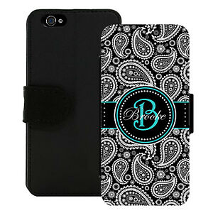 PERSONALIZED-WALLET-CASE-FOR-iPHONE-X-8-7-6-5-5C-SE-PLUS-BLACK-PAISLEY-TEAL