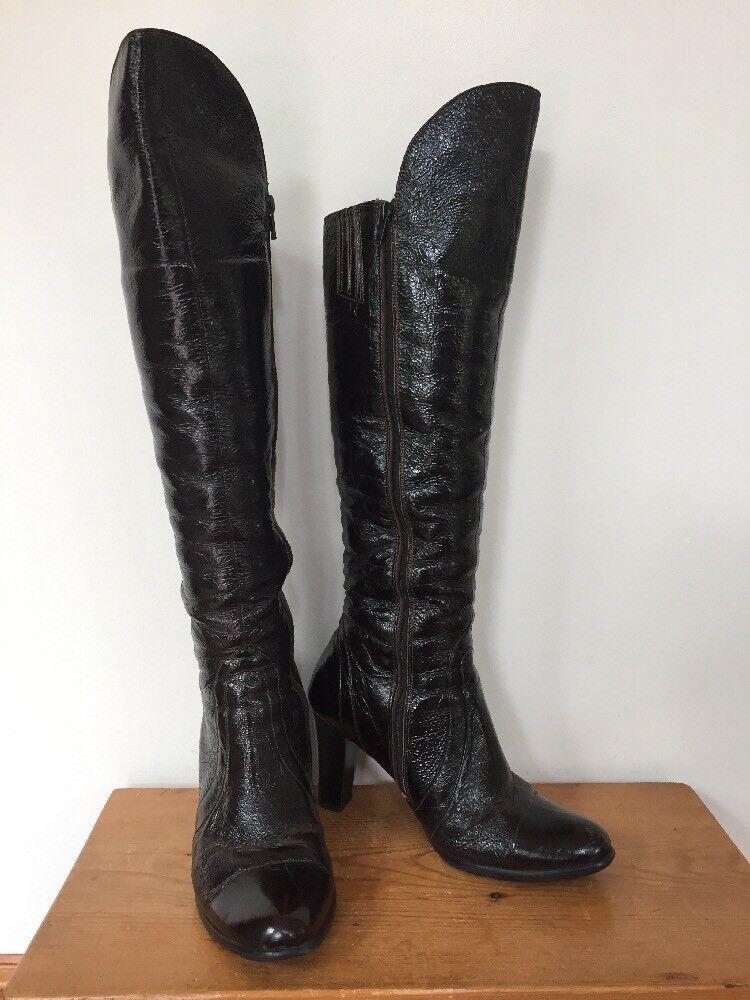 Vtg Russian Kamer Fleece Lined braun Leather Full Zip Up High Heel Stiefel 6.5 37