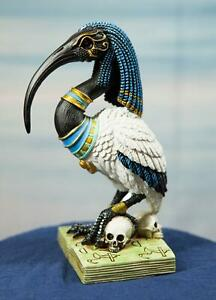 Egyptian God Ibis Headed Thoth White Flamingo Standing On Skull And Book Statue